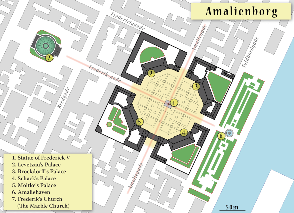 Amalienborg mappa del palazzo