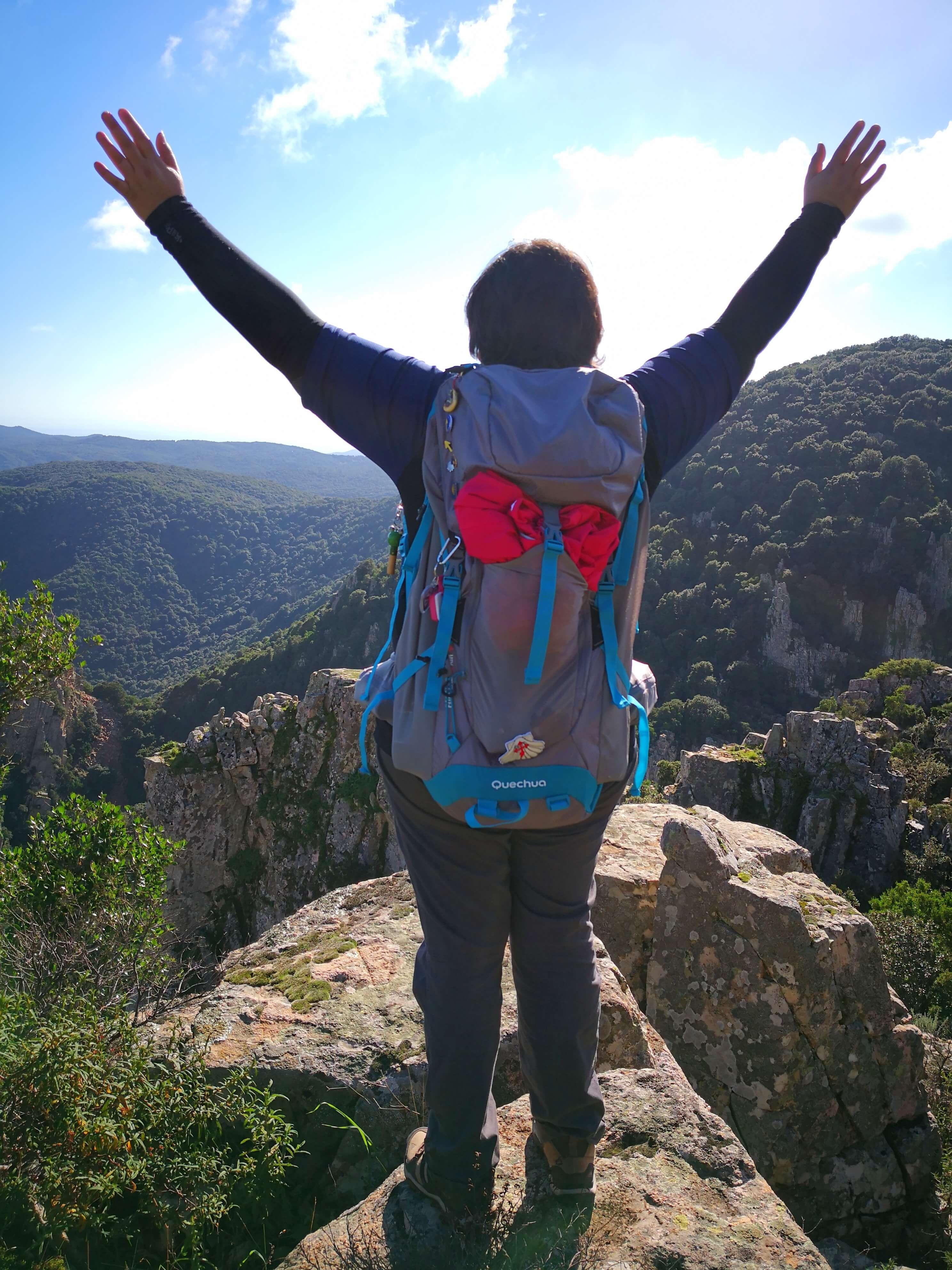 viaggiare-zaino-in-spalla-felice-in-vetta-montagna