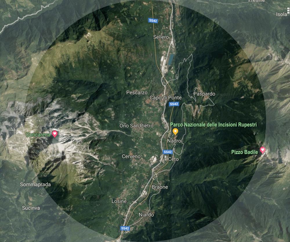 mappa valle camonica sito ancestrale
