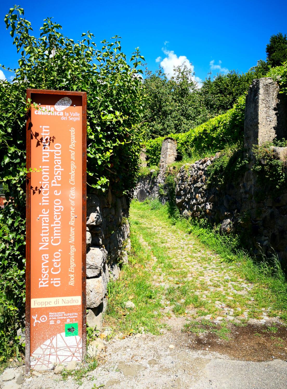 ingresso alla riserva delle incisioni rupestri di nadro